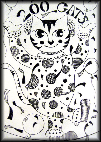 200th What a Cat! drawing.