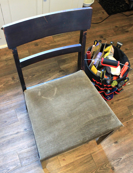 Chair with brown upholstery