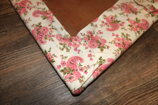 Fabric folded over the corner