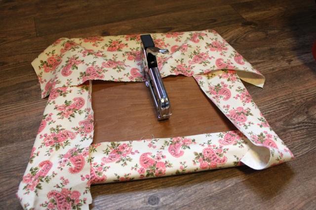 Stapling the finish fabric