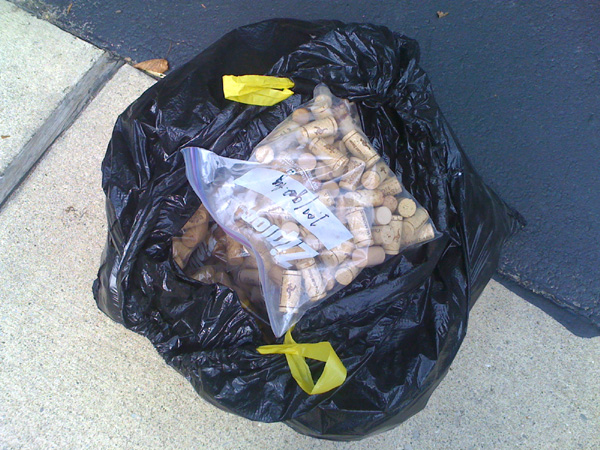 Bag full of corks