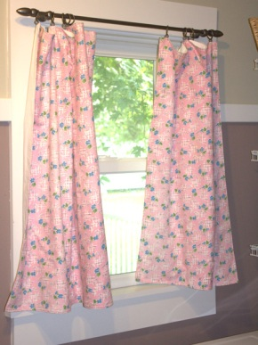 Pink laundry room curtains