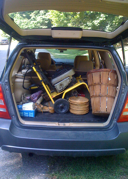 Open hatch of the Forester showing all the goodies we found.