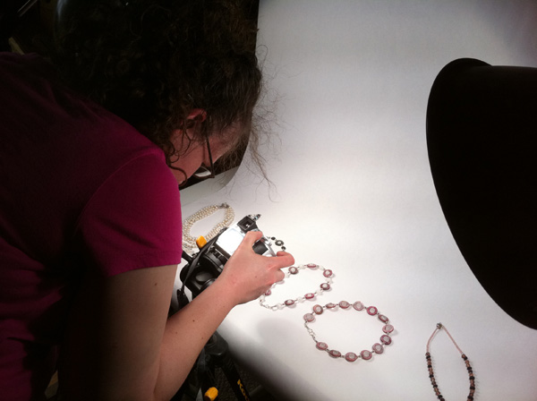 Loryn photographing jewelry