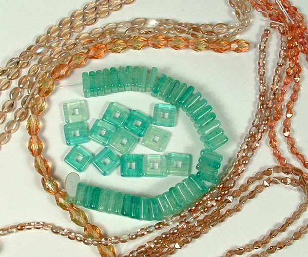 6 different types of glass beads