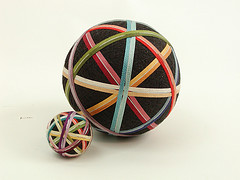Set of matching ribbon temari.