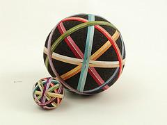 Set of matching ribbon temari.