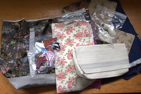 A pile of unfinished sewing projects