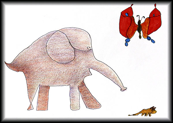 Elephant, mouse and butterfly.