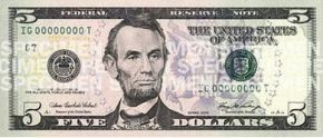 Photo of a five dollar bill.