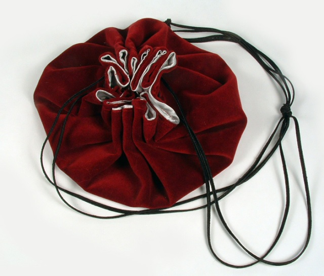 Photo of drawstring purse.