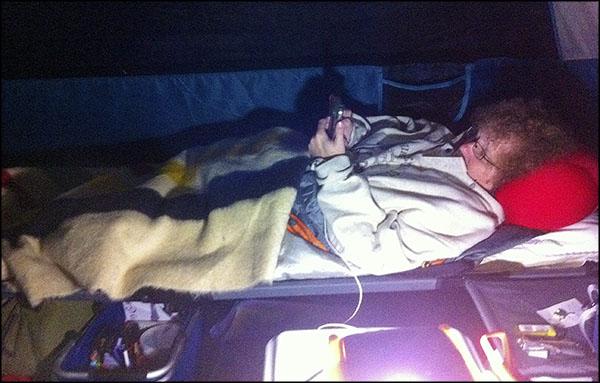 Lynne camping.