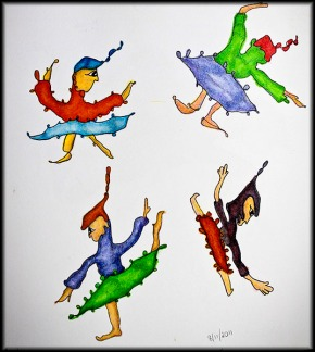 Four Squiggle Ballerinas