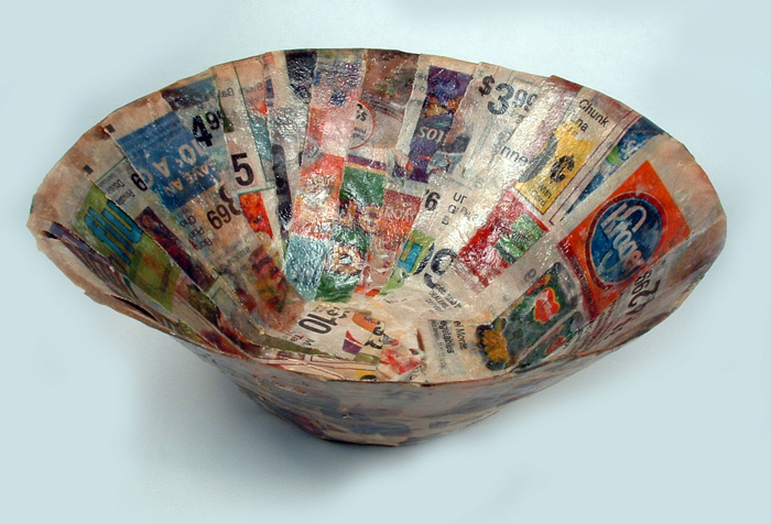 Crafty challenge 3 paper mache bowl the crafty sisters for How to make a newspaper bowl