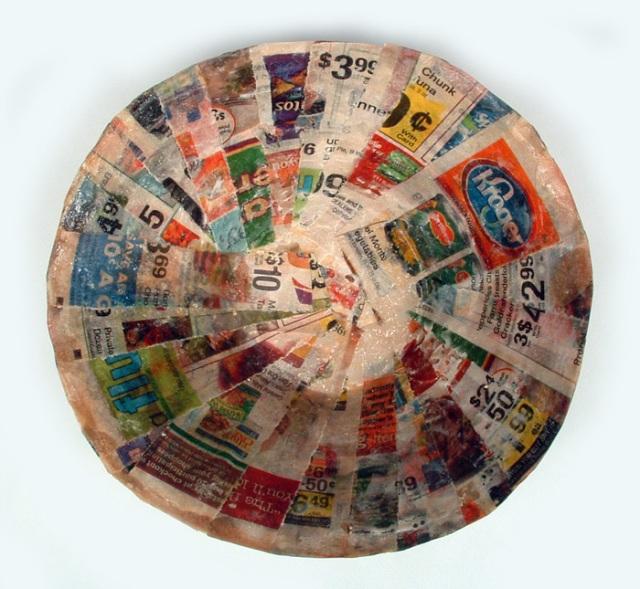 Paper-mache bowl.