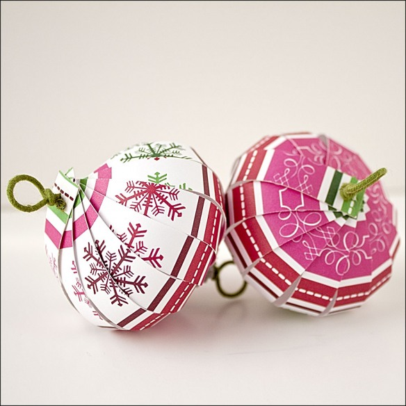 Spiral ornaments made from scrapbook paper.