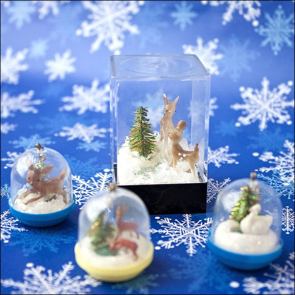 Winter scenes inside tiny toy bubbles.