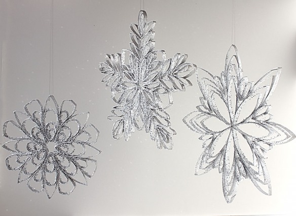 Snowflakes made from paper tubes.