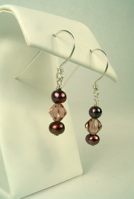 Maroon pearl dangles on french style earwires.