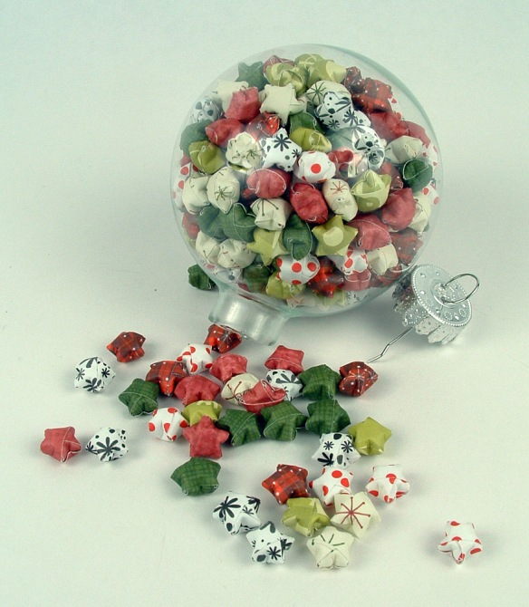 Glass ball full of origami lucky stars.