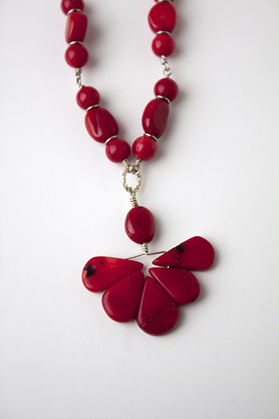 Red coral and sterling necklace