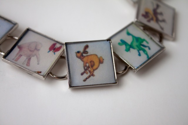 Charm bracelet made from drawings