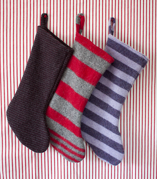 Christmas stockings made from felted sweaters