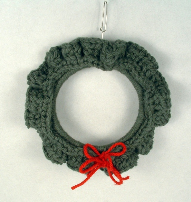 Crochet wreath ornament.