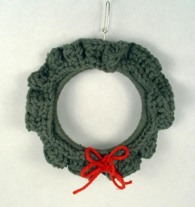 Crochet wreath ornament.