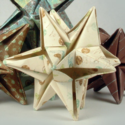 Origami 12 point star made from scrapbook paper.