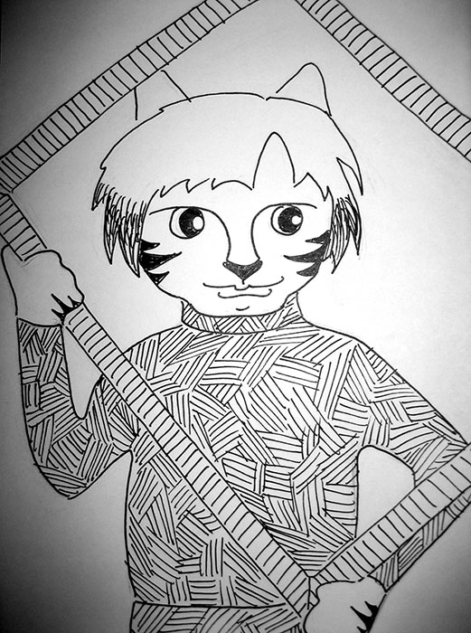 Cartoon Cat Link Pen Ink Drawing Warhol
