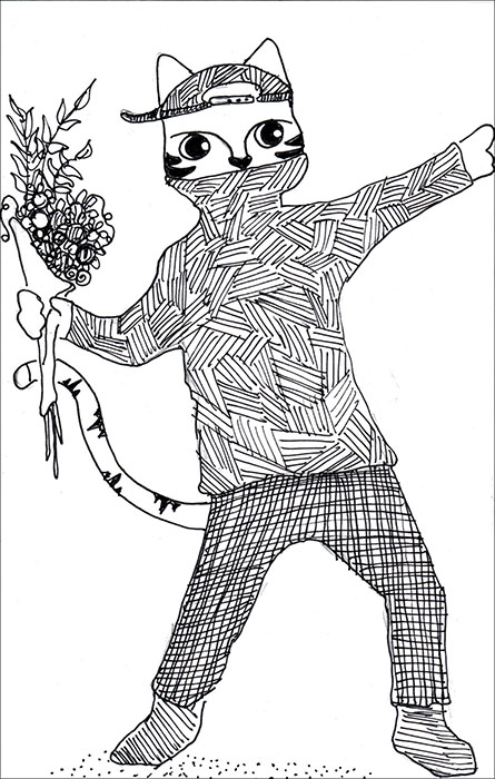 Cartoon Cat Link Banksy Pen Ink Drawing