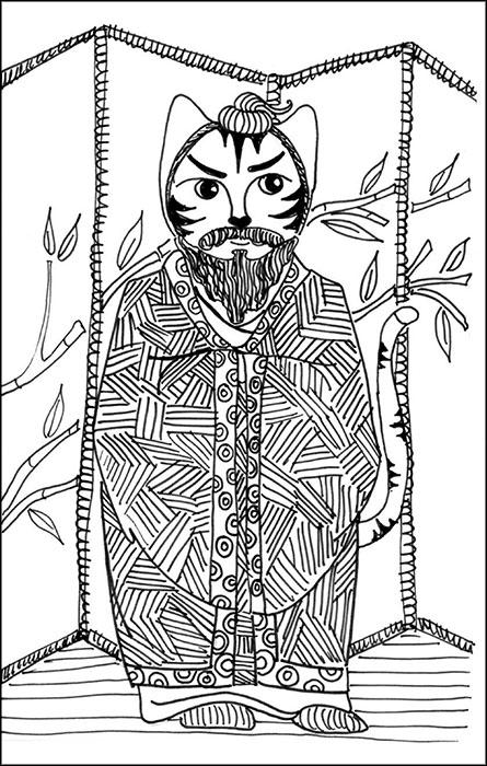 Cartoon Cat Link Art Pen Ink Drawing
