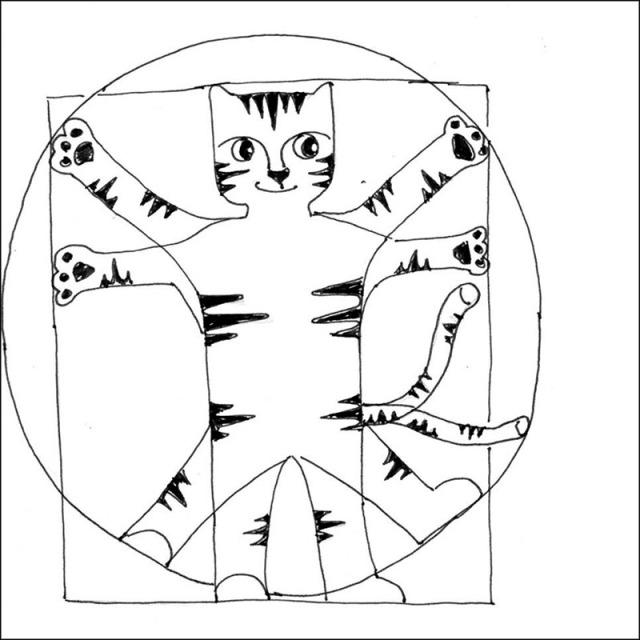 Cartoon Cat Link Art Pen Ink Drawing DaVinci
