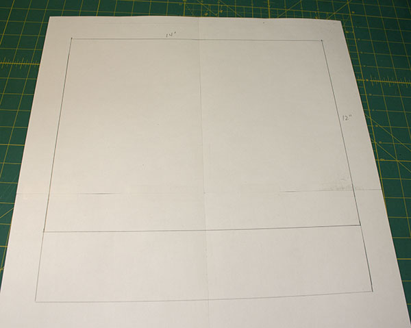Step two to draft a simple bag pattern