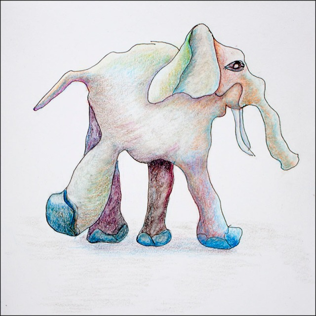 cartoon elephant squiggle colored pencil