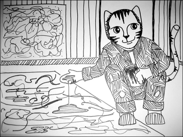 Cat Cartoon Link Jackson Pollock Pen Ink Drawing