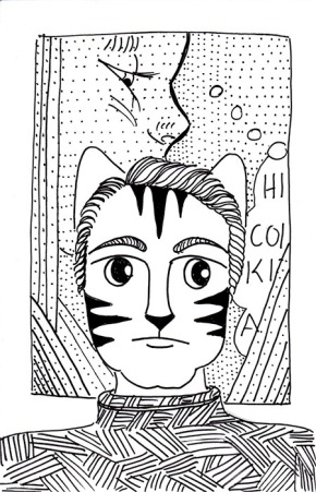 Cartoon Cat Art Link Lichtenstein Pen Ink drawing
