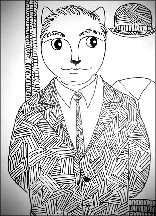 Cartoon Cat Link Pen Ink Drawing Magritte