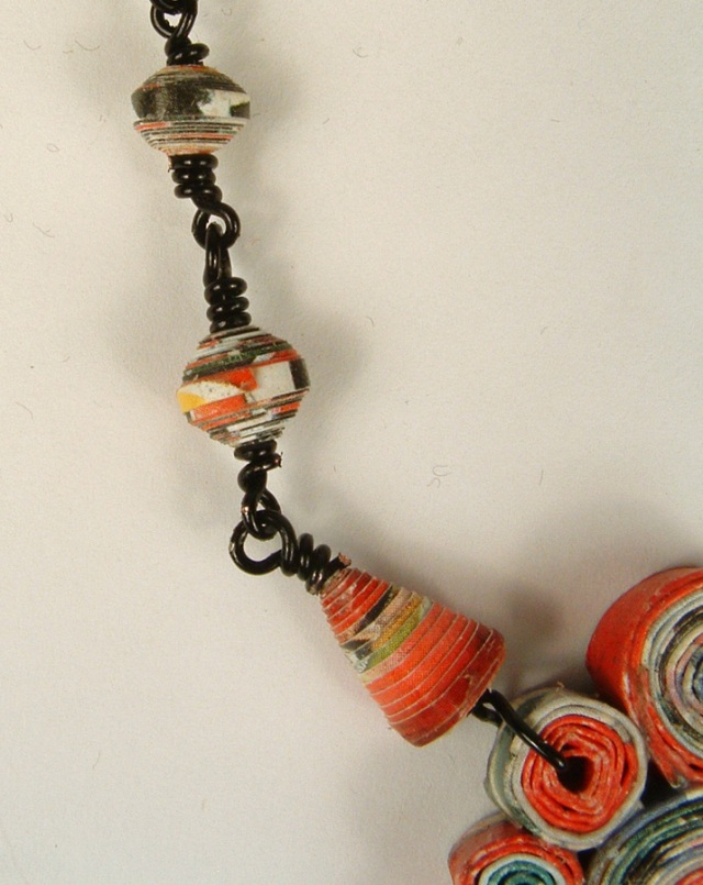 Rolled paper beads wire wrapped to form a necklace chain.