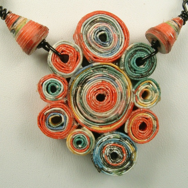 Rolled paper pendant.