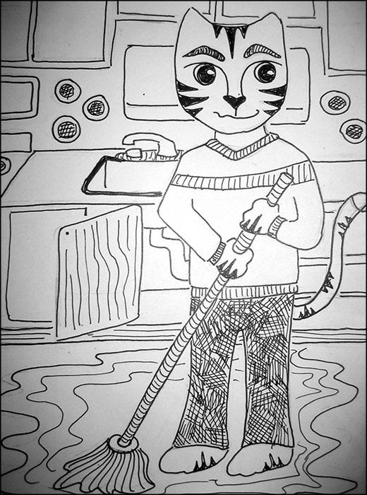 Cartoon Cat Link Mop the Floor Drawing