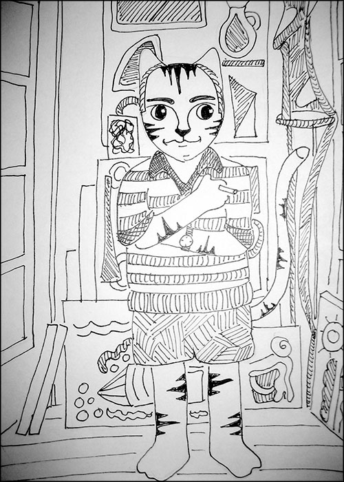 Cartoon Cat Link Picasso Pen Ink Drawing