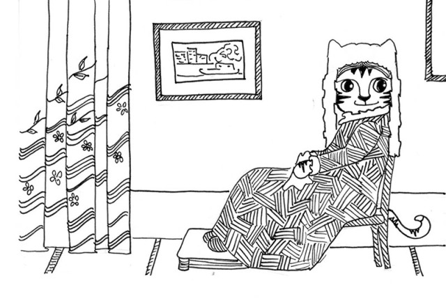 Cartoon cat art Link pen ink drawing Whistler's Mother