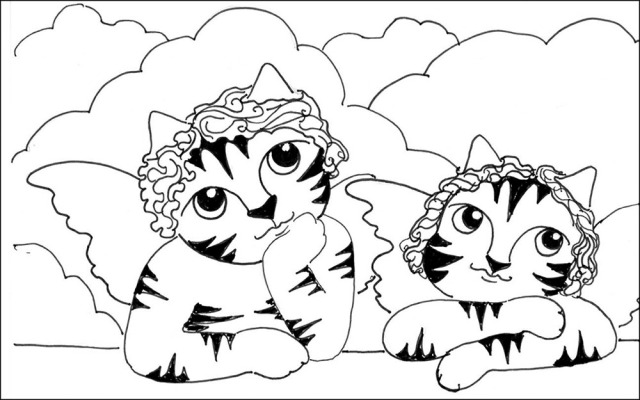 Art Cat Cartoon Link Angels Raphael Pen Ink Drawing