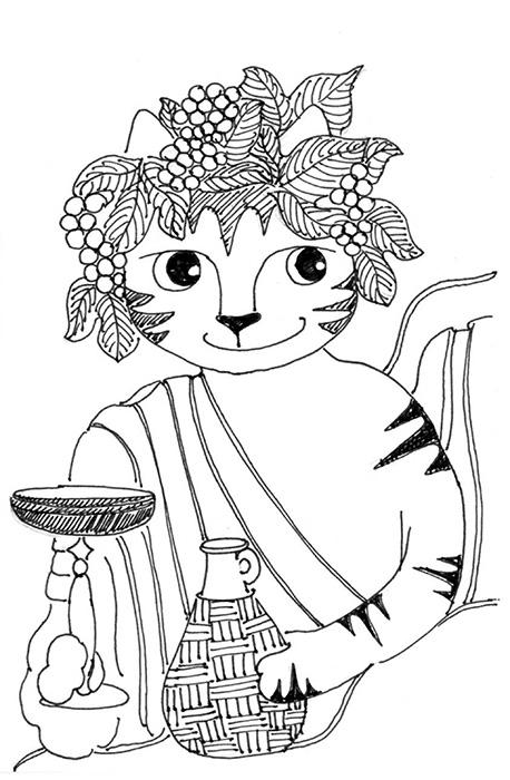 Cat Cartoon Link Pen Ink Drawing Bacchus