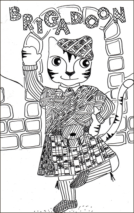 Cat Cartoon Link Art Brigadoon Pen Ink Drawing