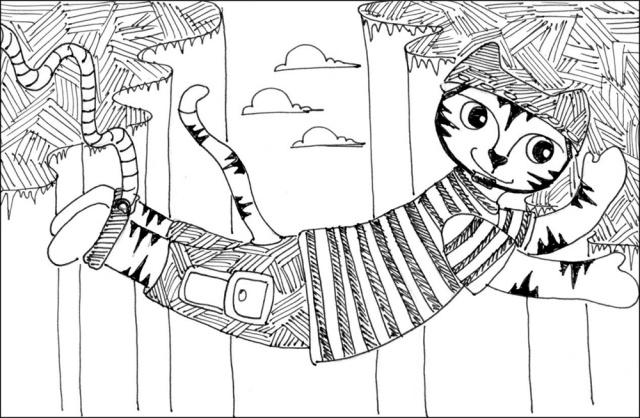 Cat Art Cartoon Link Pen Ink Drawing Bungee Jumper