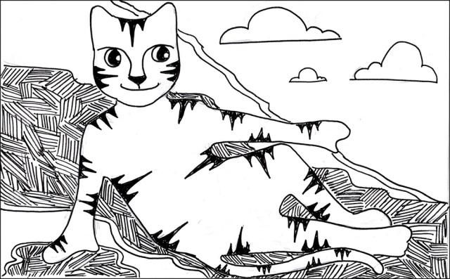Art Cat Cartoon Link Michelangelo Creation Pen Ink Drawing