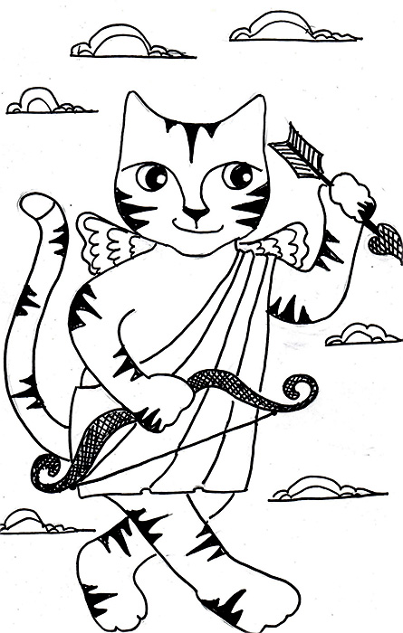 Cat Cartoon Link Pen Ink Drawing Cupid